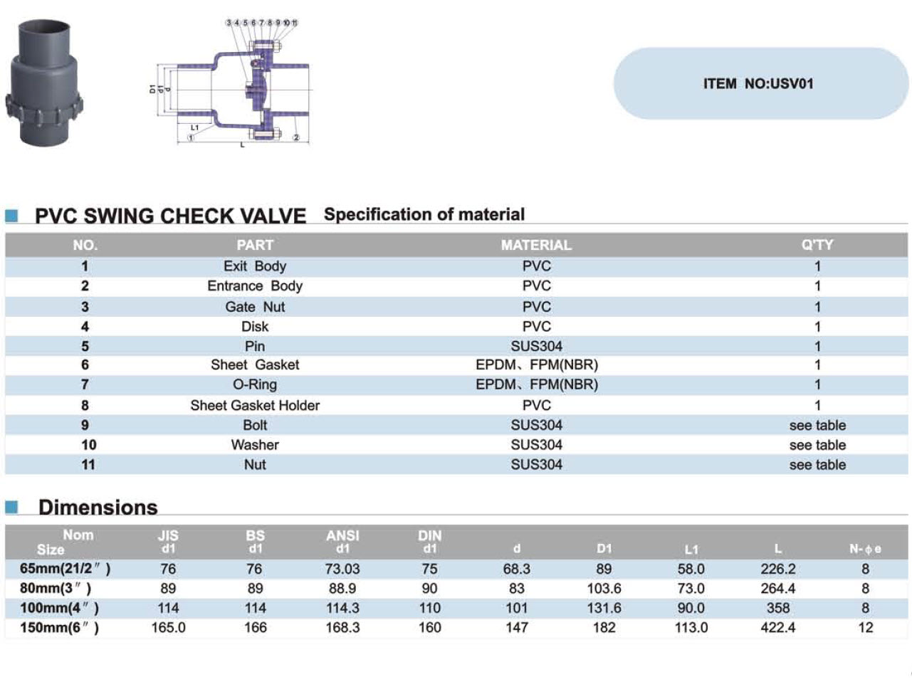 "U-PVC เช็ควาล์ว2.5"""