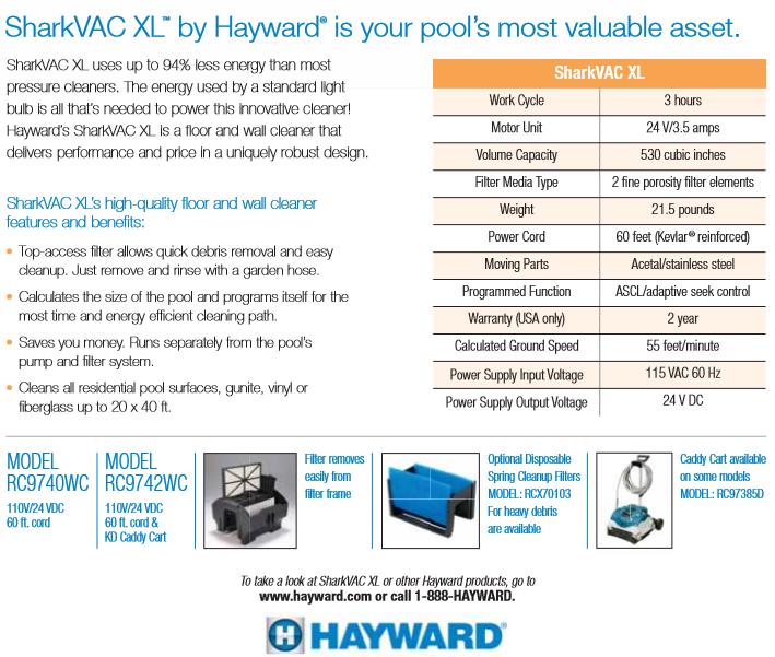 หุ่นยนต์ทำความสะอาดสระว่ายน้ำ Hayward SHARKVAC XL