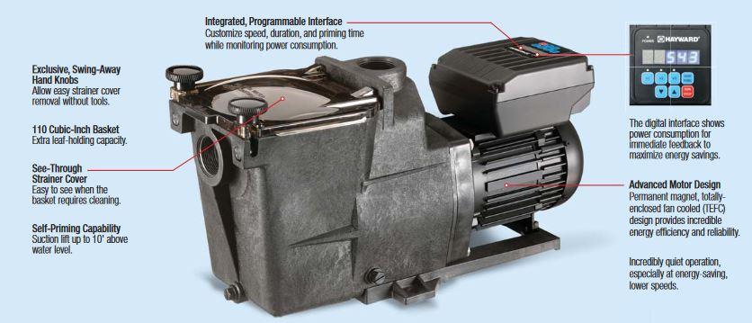 ปั๊มสระว่ายน้ำ Hayward Super Pump VS 1.5 HP 220V