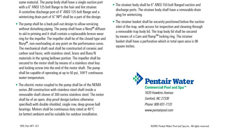 Pentair 340080-ปั๊มสระว่ายน้ำ