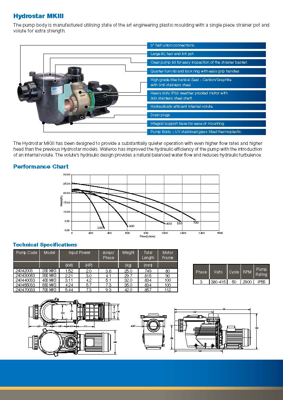 ปั๊มสระว่ายน้ำWaterco  Hydrostar MK III 4 hp 380v